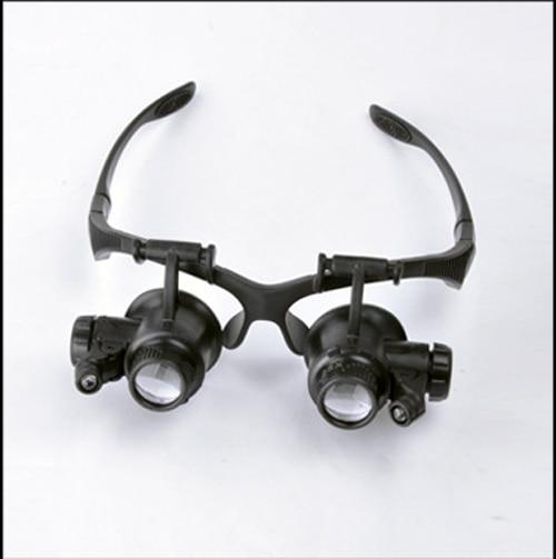 016892012b Anteojos lupa 10X15X20X25X magnifica de la lente de la lupa gafas tipo con  luz LED Watch