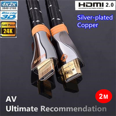Free Shipping 2M Ultimate High Speed HDMI 2.0 Cable With Silver plated copper Full HD 1080P 2160P 4K*2K 3D for PS3 LCD DVD HDTV ultimate ps 1244n silver alu