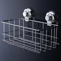 Stainless Steel Strong Suction Shower Basket Dual Sucker Bathroom Shelf Washing Room Kitchen Cor Corner Basket