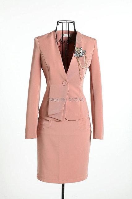 Nueva rosa elegante 2015 del otoño del resorte uniforme carrera Formal falda traje chaqueta + falda con el ramillete de la oficina de trabajo de negocios conjunto
