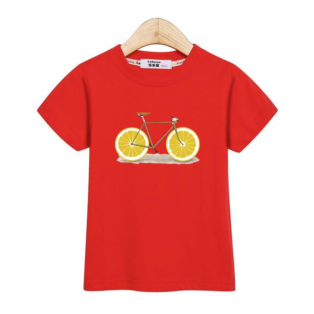 Fashion America kids tops short sleeve boy shirt lemon bike design baby girl t-shirt USA summer cotton tees kid print tshirt