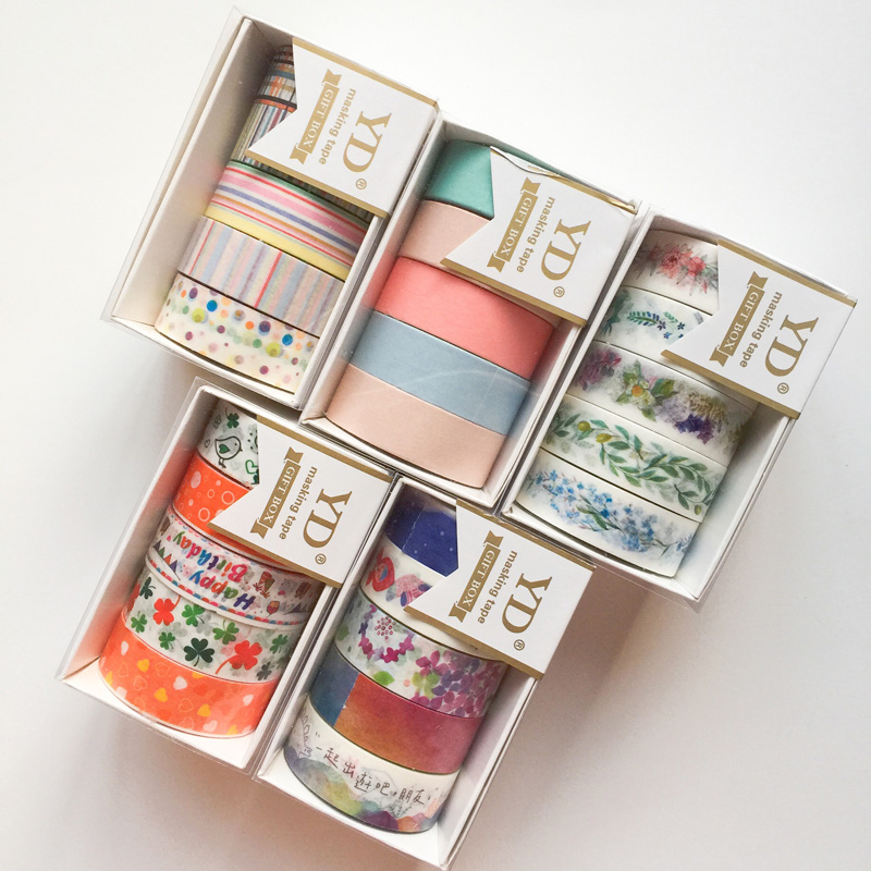 5pcs/Box Fresh Floral Washi Tape School Office Supply Decorative DIY Craft Giftbox Style 7 Meters Long