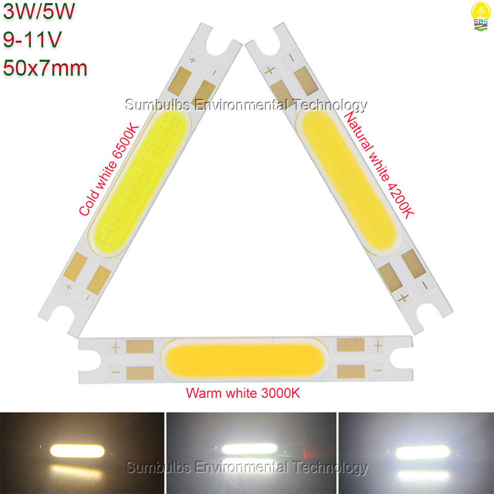 10pcs/lot Warm Natural Cool White 3W 5W 50x7mm COB LED Strip Chip On Board Light Source For Wall Table Lamps