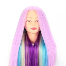 CAMMITEVER Violet Purple Rainbow Hair Mannequin Heads Doll Manikin Head Multi Color Hair Hairdresser Mannequins(China)