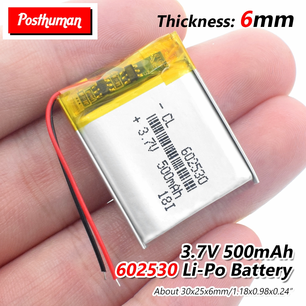 3.7V 602530 500mAh Rechargeable Li-ion Polymer Lithium Battery Cells For Microphone MP3 MP4 MP5 GPS Smart Watch Wireless Mice