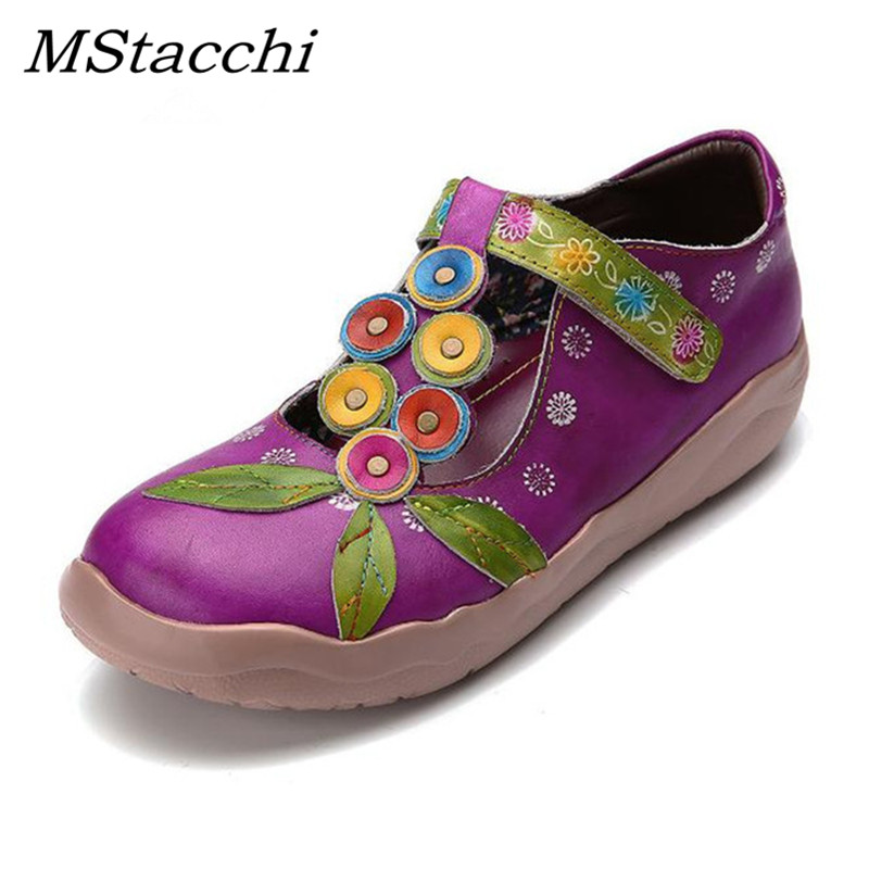 MStacchi New Genuine Leather Womens Loafers Strap Casual Shoes Hand-Printed Retro Flats Shoes Woman All-Match Comfort Soft ShoeMStacchi New Genuine Leather Womens Loafers Strap Casual Shoes Hand-Printed Retro Flats Shoes Woman All-Match Comfort Soft Shoe