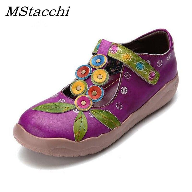Mstacchi 새로운 정품 가죽 여성 로퍼 스트랩 캐주얼 신발 손으로 인쇄 레트로 플랫 신발 여성 모든 일치 컴포트 소프트 구두-에서여성용 플랫부터 신발 의  그룹 1