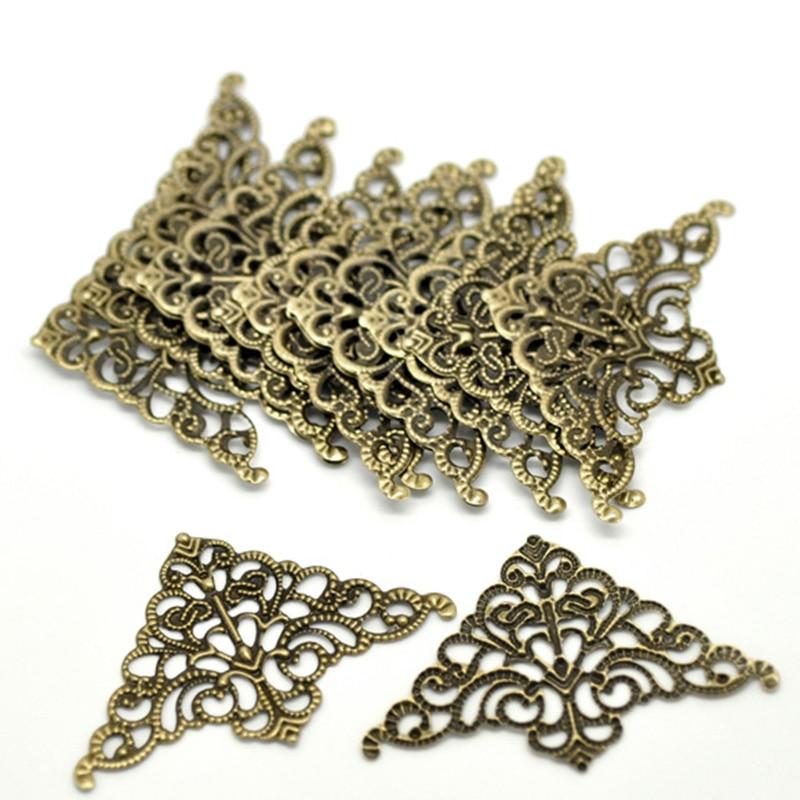 FUNIQUE 100PCs Filigree Flower Wraps Cabochons Ancient Bronze Flatback Metal Embellishments Scrapbooking For DIY Jewelry