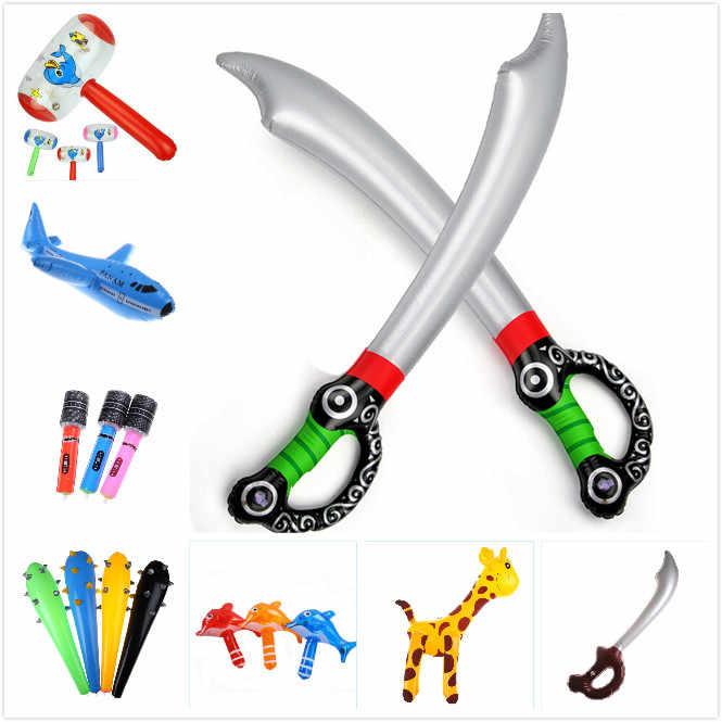1 PC Kartun Rusa/Jerapah Hewan Balon Infinite Luar Ruangan Anak Taman Halaman Mainan PVC Anime Inflatable Pedang Mainan Anak