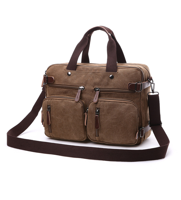 brown canvas laptop bag with two front pockets and two handlers