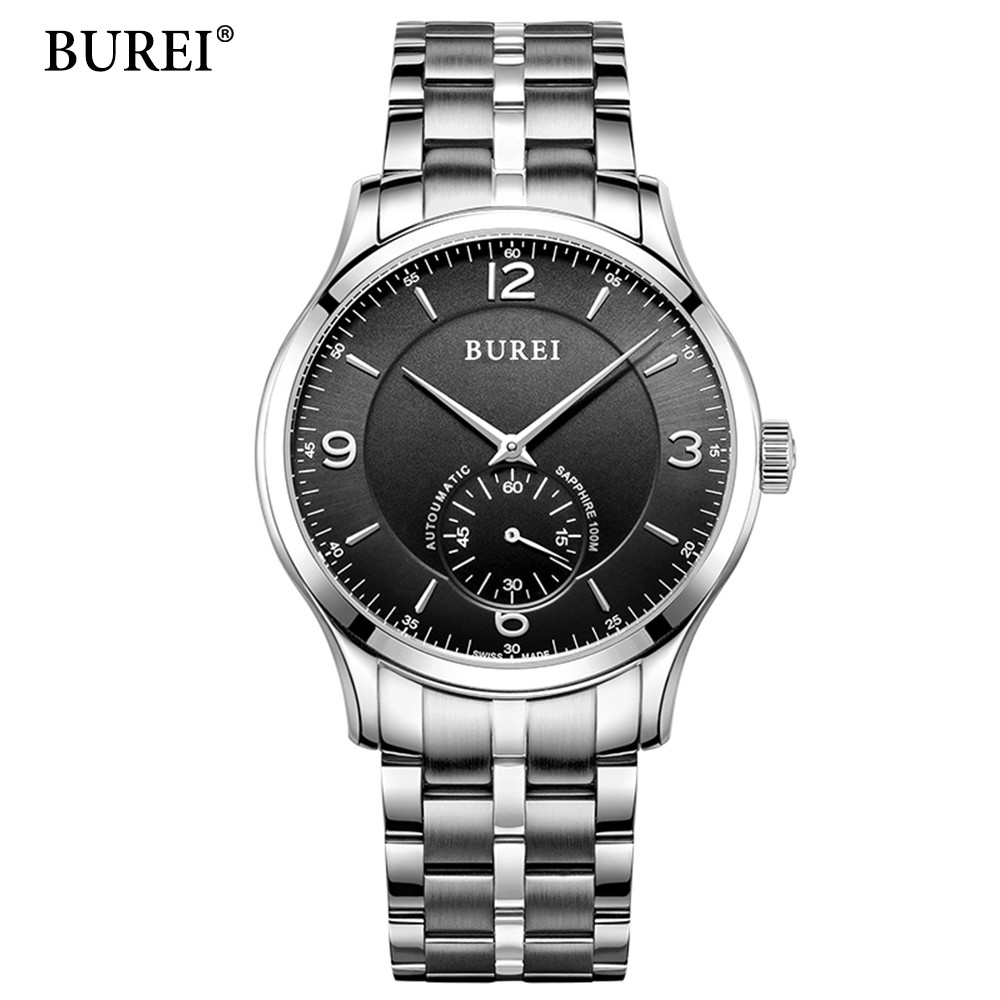 Reloj Hombre BUREI Brand male Fashion Business Wrist Watches Men Full steel Waterproof Automatic mechanical Watch Mens Clock mens watches top brand luxury 2017 aviator white automatic mechanical date day leather wrist watch business reloj hombre