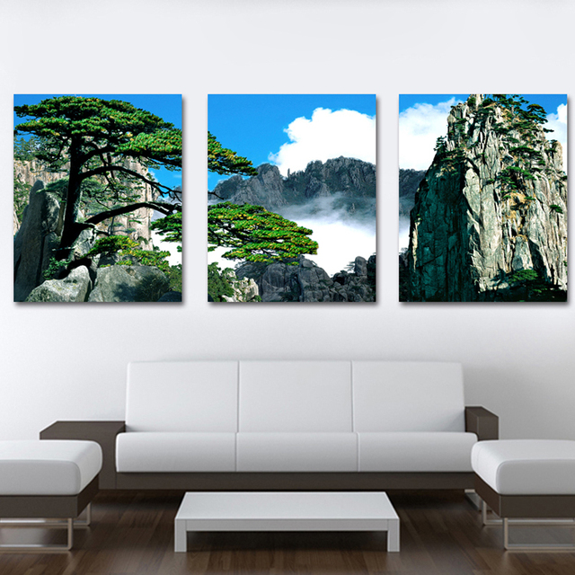 framed 3 panel large huang shan art landscape painting chinese 3