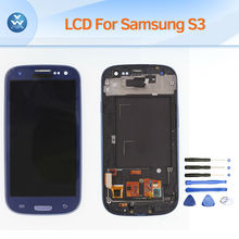 LCD for Samsung Galaxy S3 i9300 i9305 i747 i535 LCD display touch screen digitizer frame full assembly replacement white blue