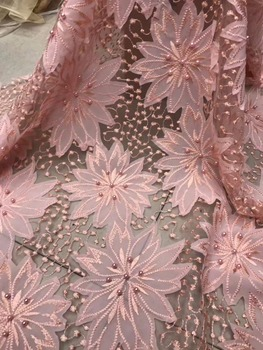 embroidery French lace African mesh tulle lace fabric with beads high quality 5 yards/PC