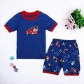2016 Babys Verão Sleepwear Azul Meninos Roupas Roupas infantis Carros Dos Desenhos Animados Pijamas Menino de Underwear Crianças Pijama Define Desgaste Casa