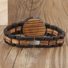 BOBO BIRD N28N30 Zebra Ebony Wooden Watches for Men Women Two-tone Quartz Lovers Watch with Tool for Adjusting Size Wood Box