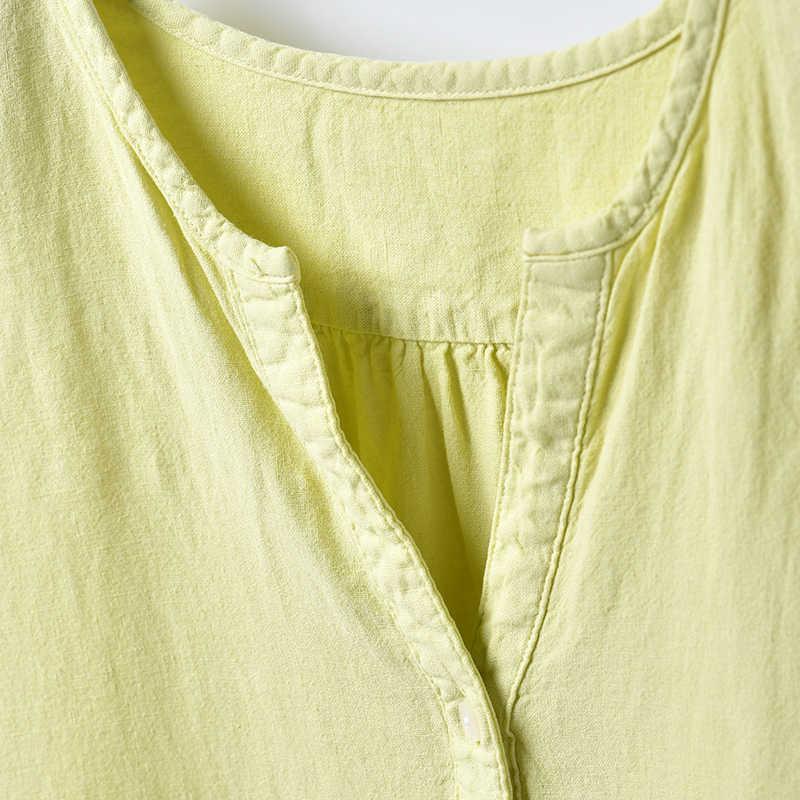 C2876 художественная и художественная Одежда большого размера, тонкая Джокер, круглый воротник, полуотворот, длинная хлопковая рубашка из пеньки для женщин