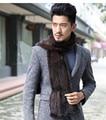 Новый Стиль вязать зима натуральный мех норки шарф черный коричневый шеи теплее мужской натуральный мех шарфы