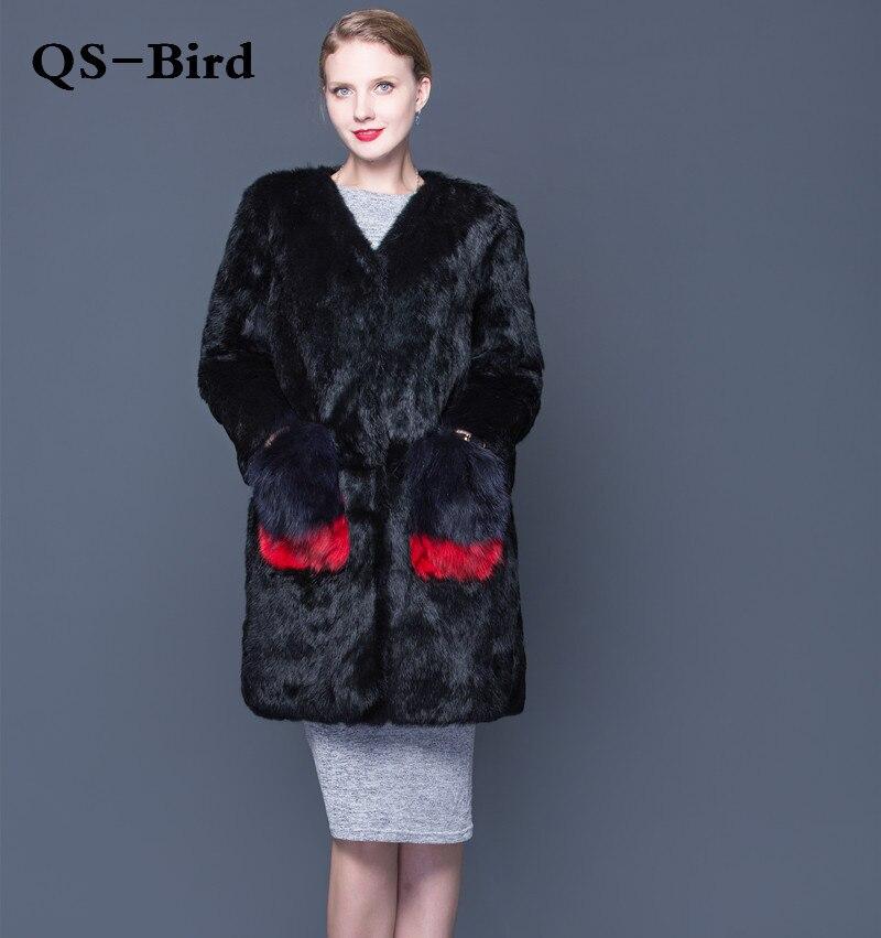 2018 nouveau lapin peau épaississement pleine fourrure lapin fourrure manteau renard poche décoration en cuir fourrure manteau long manteau