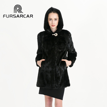 2017 New Women's Winter Mink Fur Coat with Hood Black Color Mink Fur Natural Coat Autumn Fashion Real Mink Fur Outwear BF-C0458