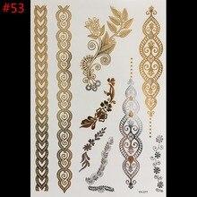 Wholesale temporary tattoo metal gold metallic henna flash tattoos sex products jewelry Tatouage body art sticker tatto tatoo