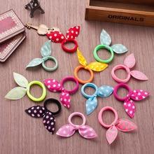 10pcs elastīgi matu lentes polka punkti gudrs priekšgala trušu ausis elastīgs gumijas lentes matu virves meitenes scrunchy piederumu matu kaklasaiti