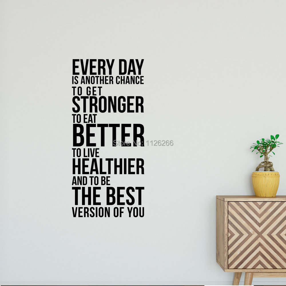 Everyday Is Another Chance To Get Stronger Inspirational Wall Quote Removable Wall Decal Sticker Lettering