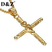 D Z Religious Gold Color Cross Necklace 316L Stainless Steel Lion Crucifix Pendants Necklaces For Christian