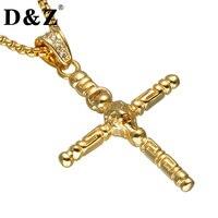 D Z Religious Gold Color Cross Necklace 316L Stainless Steel Lion Crucifix Pendants Necklaces For Christian