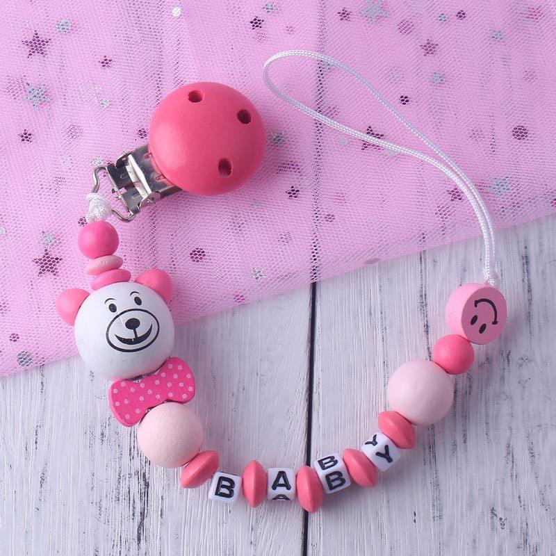 Personalisierte Name Baby Schnuller Clip Kette Infant Jungen Mädchen Nette Cartoon Bär Spielzeug Schnuller Kette Halter Baby Nippel Fütterung