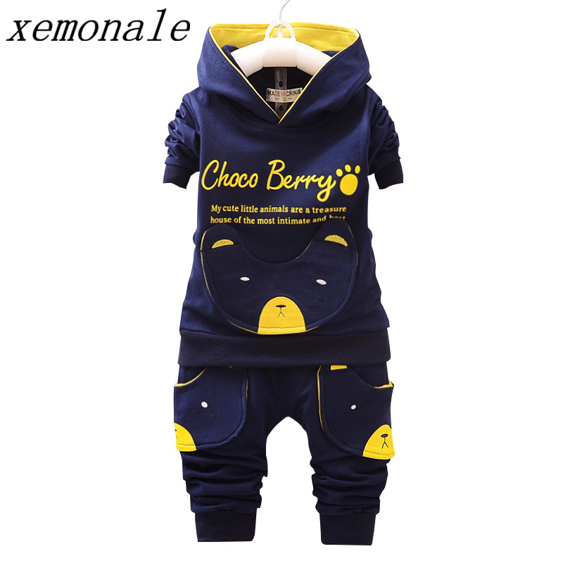 Children Clothing Sets Hooded Coat And Pants 2pcs Suits Fashion Letter Baby Boy Girl Autumn Suit Toddler Cotton Sport Tracksuit