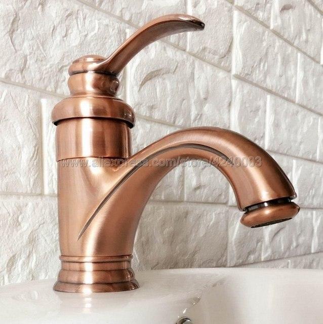 Античный красный медный смеситель для раковины в ванную комнату