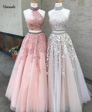 Black Pink Two Pieces Prom Dresses Long Elegant Off the Shoulder High Neck Lace Appliques Crystal Gala Evening Party Dress 2019