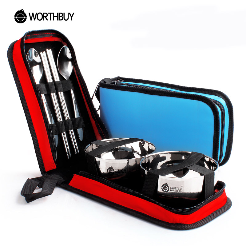 WORTHBUY Chinese Stainless Steel Dinnerware Set Portable Outdoor Travel Camping Picnic Tableware Set Bowl Cutlery Set With Bag