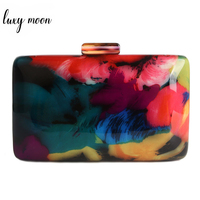 New Clutch Bag Female Evening Bags Acrylic Bag Fashion Design Colorful Printing Women Shoulder Bag Casual Vintage Clutches Purse