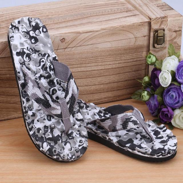 Mens Summer Fashion Camouflage Beach Flip Flops Indoor Outdoor Sandals Slipper Large Size 40-45