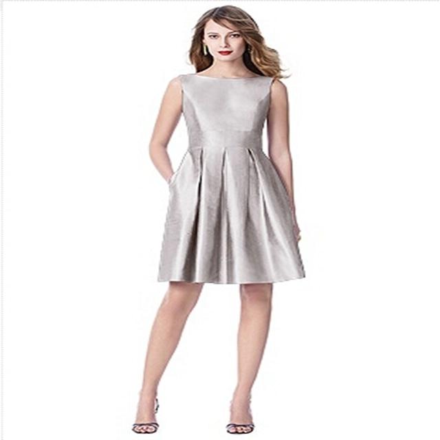 312f7e035a29 Refined Silver Short Bridesmaid Dress 2015 Scoop Neck Knee length Maid of Honor  Dress Short Wedding Guest Dress vestido de festa