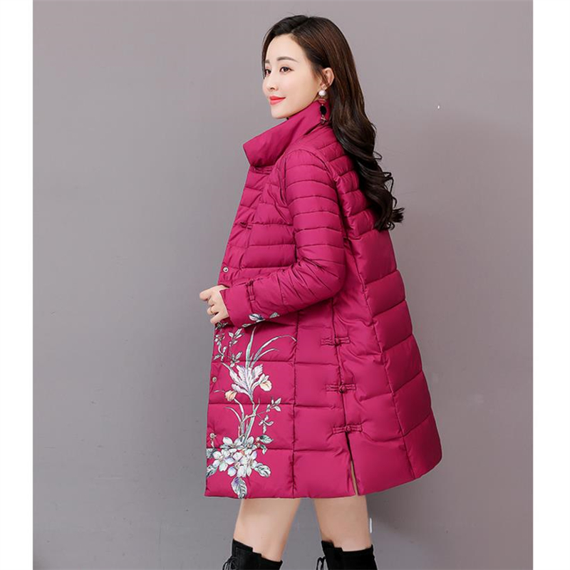 Vintage Winter Jacke Frauen Langen Mantel Dicken Druck Warme Padded Jacke Lose Frauen Mantel Mode Mäntel Damen baumwolle Parka 4XL-in Parkas aus Damenbekleidung bei  Gruppe 3