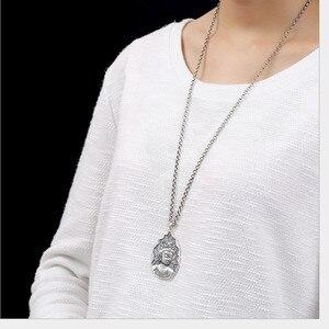 Image 2 - Uglyless Echt 999 Reinem Silber Handgemachte Bodhisattva Anhänger Halsketten keine Ketten Buddhismus Thai Silber Buddha Anhänger Wasser tropfen
