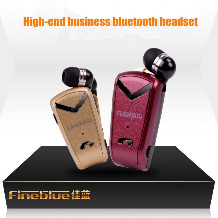 Fineblue F-V2 Bluetooth Stereo Business Headset BT 4.0 Voice Prompt Wireless Music Earphone Earpiece Cable with Clip for OppoLG (2)
