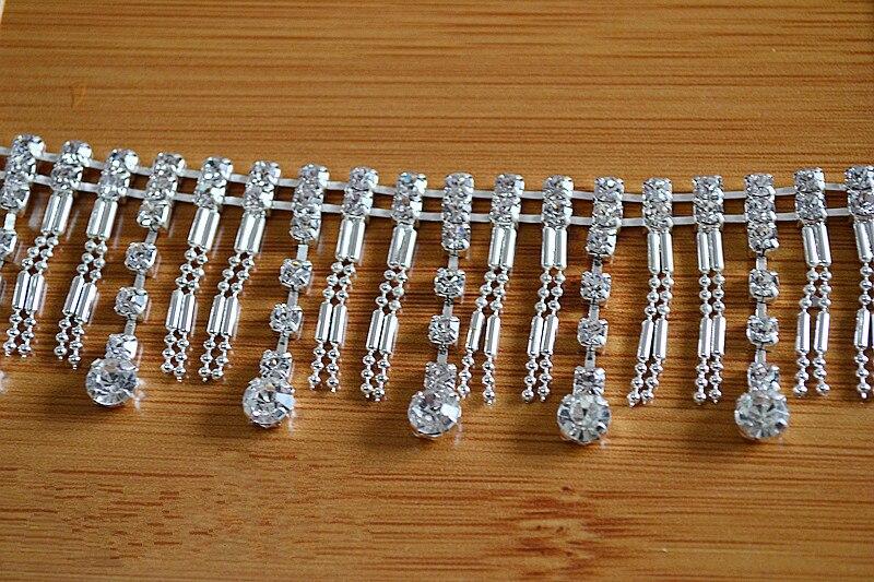Nieuwe stijl hand naaien trouwjurken kwastje kant trim boor Zilveren ketting riem diamant kant stof DIY accessoires