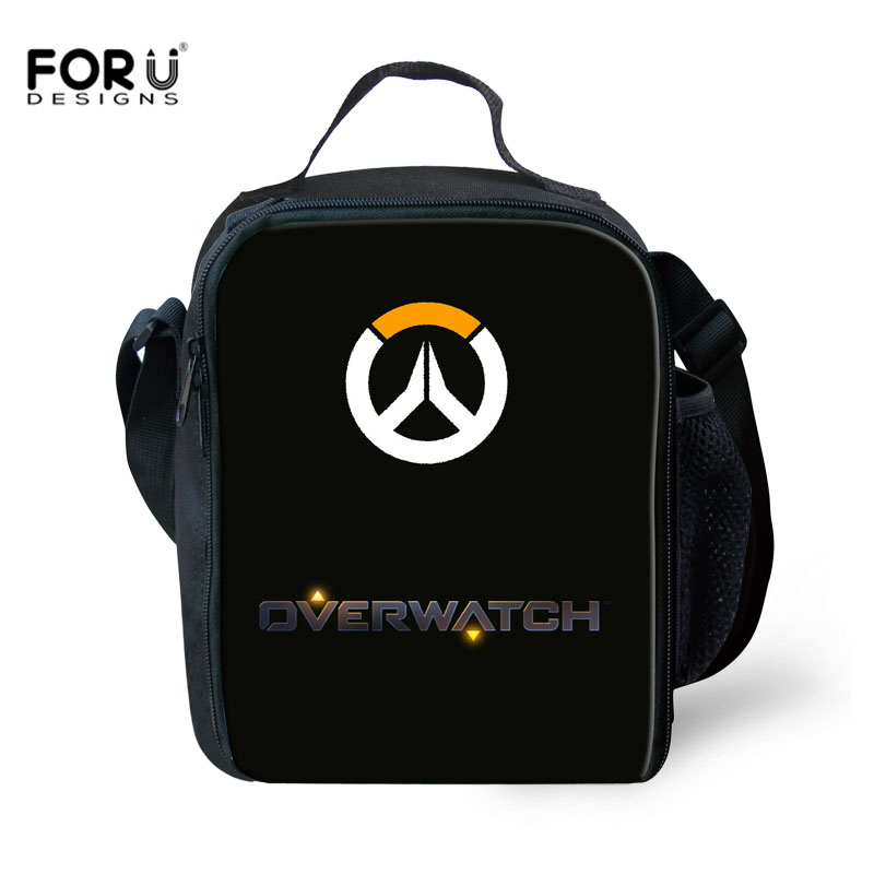 FORUDESIGNS Overwatch Print Lunch Bag For Boys Girls Food Bags Children Kids Lunchbox Case Totes Women Picnic Handbags Wholesale