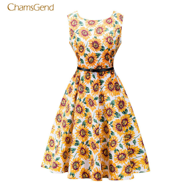CHAMSGEND 2017 Summer Dress Plus Size Pleated Sleeveless Casual ...