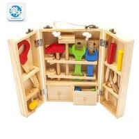 Multifunción Conjunto de Herramientas de Mantenimiento de madera Caja de Madera Del Bebé De Juguete Combinación de Tuerca Juguetes educativos regalos