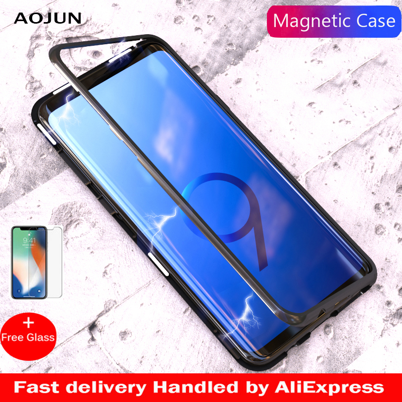 Aojun Magnetic Adsorption Metal Case For Samsung Galaxy S8 Plus Note 9 S9 S9 Plus Tempered Glass