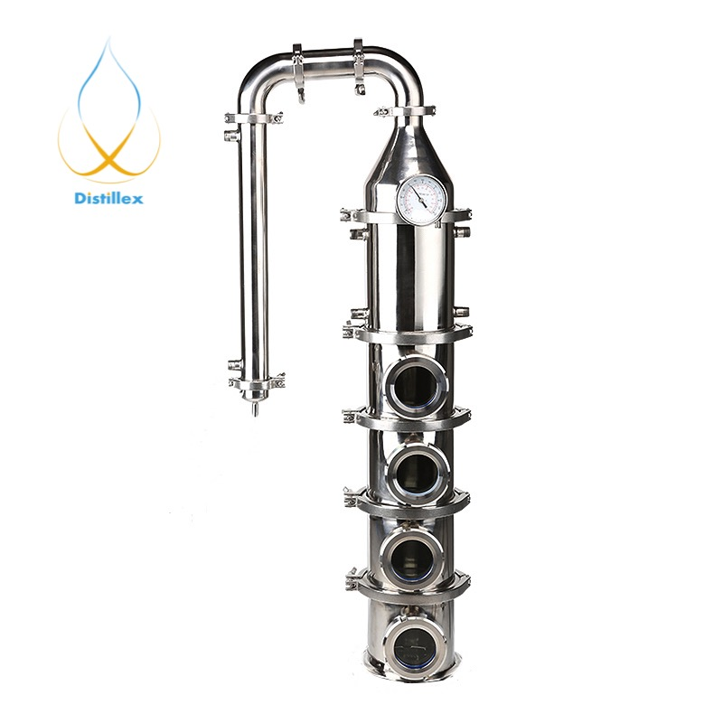 Colonne de Distillation de plaques à bulles de cuivre de 6 154mm (OD167mm) 99.9% avec 4 sections pour colonne de distillation d'acier inoxydable 304