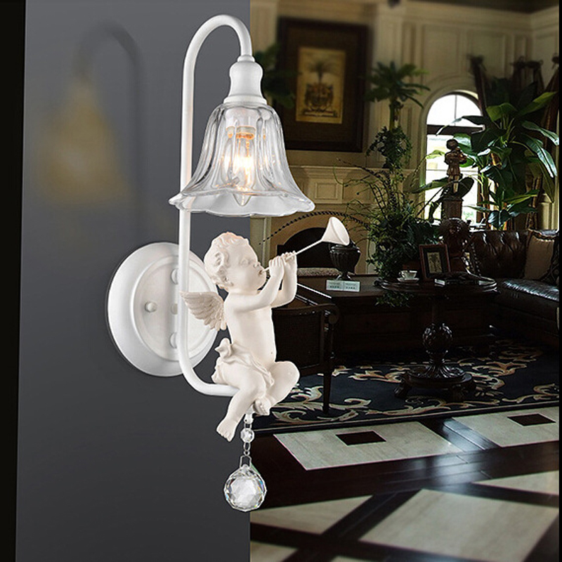 Creative Pastoral angel wall lamp den foyer abajur bedside lamparas personality bar corridor lights