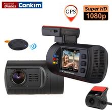 Conkim Двойной объектив автомобиль тире Камера GPS DVR спереди 1080 P FHD + сзади Камера 1080 P FHD парковка гвардии движения обнаружить мини 0906 Новатэк Cam