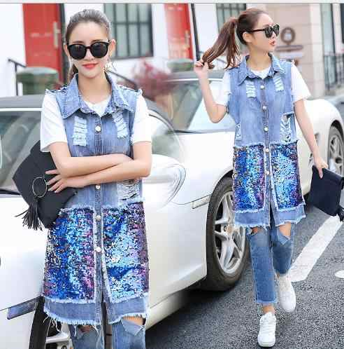 Модная уличная женская джинсовая жилетка 2019 новый весенний длинный жилет с блестками женский джинсовый жилет с дырками куртка плюс размер 3xl E834