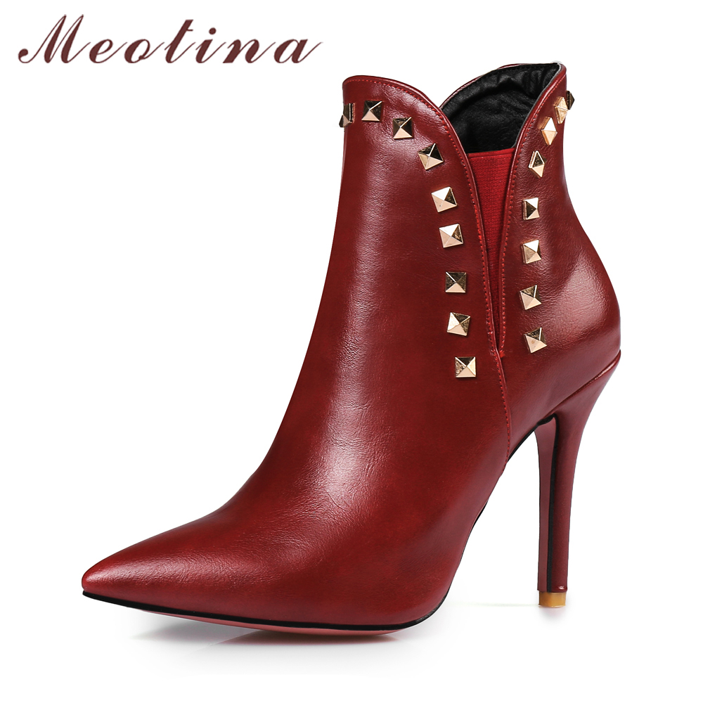 Meotina Ankle Boots Women Rivets Thin High Heel Boots Pointed Toe Ladies Boots Sexy Autumn Shoes Plus Size 12 46 Wine Red White 2017 high heels ankle strap pointed toe thin zipper plus size ultra wine red unique pumps green shoes for women 9 40 sexy